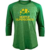 NBA Seattle Supersonics Men's Premium Triblend 3/4 Sleeve Raglan, Medium, Kly Green