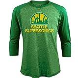 NBA Seattle Supersonics Men's Premium Triblend 3/4 Sleeve Raglan, Medium, Kly Green