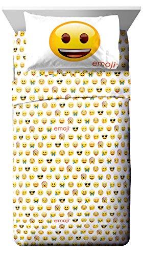 Emoji Logo White/Yellow 4 Piece Full Sheet Set (Official Emoji License Product) (The Best Emoji App)