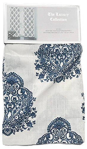 - The Luxury Collection Chinoiserie Damask Medallions Pair of Curtains Set of 2 window panels 52 by 96-inch Painted Paisley Indigo Midnight Navy Blue