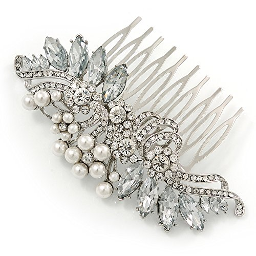 Bridal/ Wedding/ Prom/ Party Rhodium Plated CZ, Faux Pearl Floral Side Hair Comb - 100mm ()