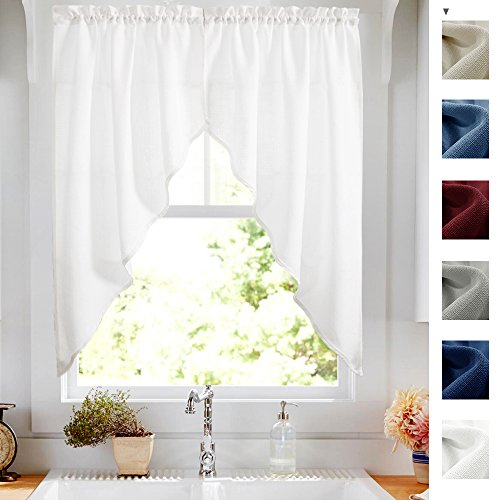 Kitchen Curtains Valances and Swags for Windows 63 inches Long, Home Decor Semi Sheer Valance Solid Color Rod Pocket Textured Window Swags for Kitchen (Set of Two, 36
