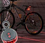 New Bicycle Tail Light 5 LED + 2 Laser Guide For Safety Blue Colour