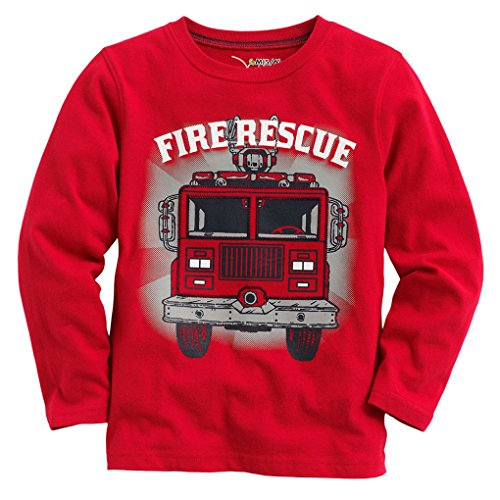 - Captain Meow Baby Boy Long Sleeve Fire Truck Red Tee 4T