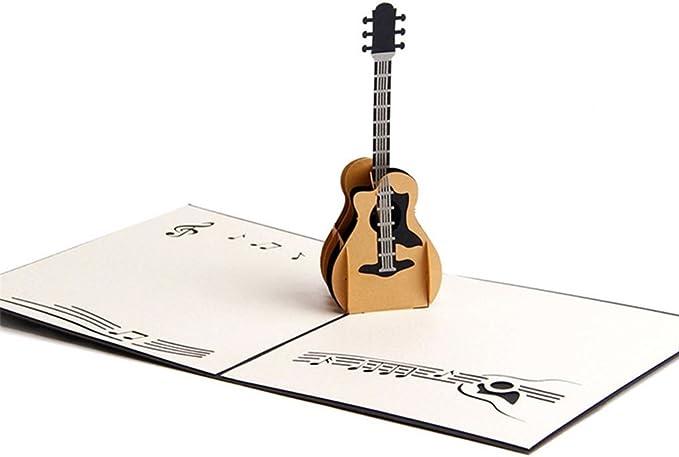 shentan 3d Pop Up Tarjetas de corte láser Vintage guitarra de ...