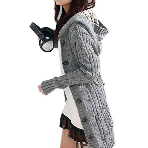 (ミネトメ)Minetom レディース 女性 コート カーディガン麻花ニットセーター長ボタンフード格子がベルト2カラー 選択可能 ( グレー )