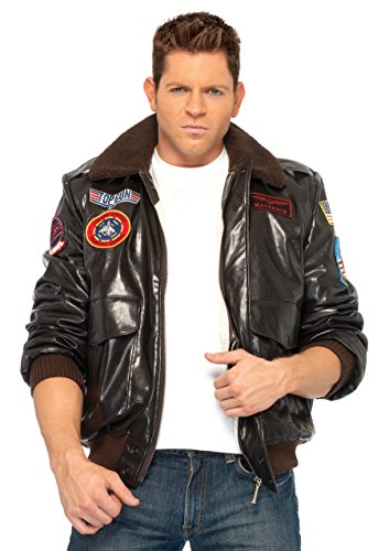 Leg Avenue Men's Top Gun Bomber Jacket, Brown, - Gun Costume Top Maverick