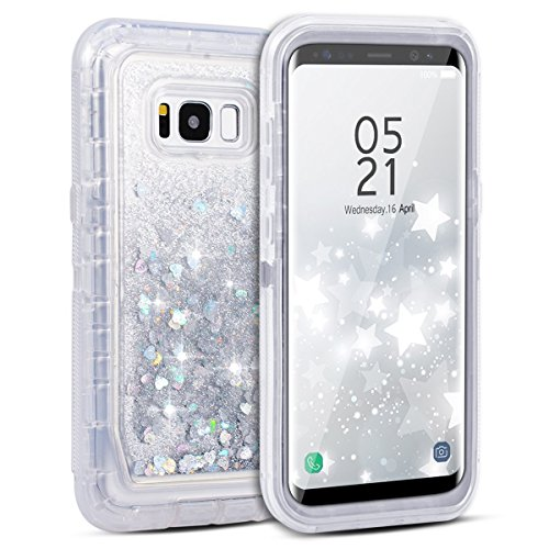 Dexnor Galaxy S8 Case, Glitter 3D Bling Sparkle Flowing Quicksand Liquid Bumper Clear 3 in 1 Shockproof TPU Silicone + PC Heavy Duty Protective Defender Cover for Samsung Galaxy S8 - Silver