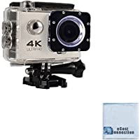 eCostConnection 4K Ultra HD 12MP WiFi Waterproof Sports Action Camera (White) with Anti-Shake DSP + eCostConnection Microfiber Cloth