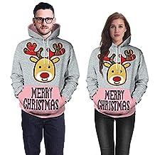 Theshy Women Men Unisex Couples 3D Christmas Antler Print Hoodies Blouse