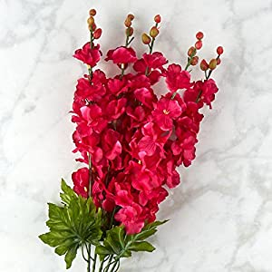Factory Direct Craft Beauty Pink Poly Silk Delphinium Floral Bush | for Indoor Decor 23
