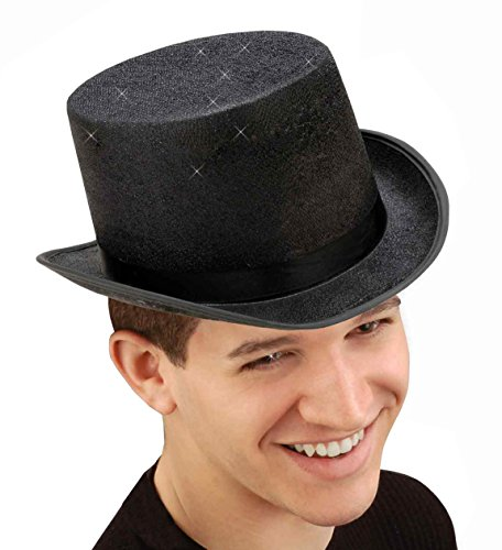 Black Top Glitter Hat (Forum Novelties Men's Glitter Mesh Adult Novelty Top Hat, Black, One Size)