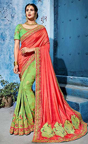 With Party Embroidered 7401 Wear Emporium Blouse Sari Unstitched Ethnic Coloured Crepe twa0xFq