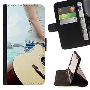 For Samsung Galaxy S5 V SM-G900 - Music Guitar Beach /Funda de piel cubierta de la carpeta Foilo con cierre magn???¡¯????tico/ - Super Marley Shop -