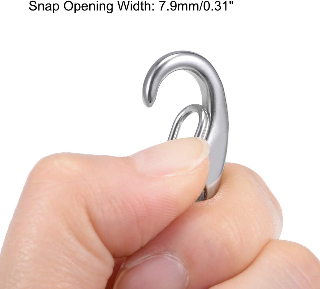 sourcing map Carabiner Snap Hook,304 Stainless Steel Spring Gate Snap Hook Clip 70mm//2-3// 4inch Marine Grade Lobster Claw Silver Tone 2 Pcs