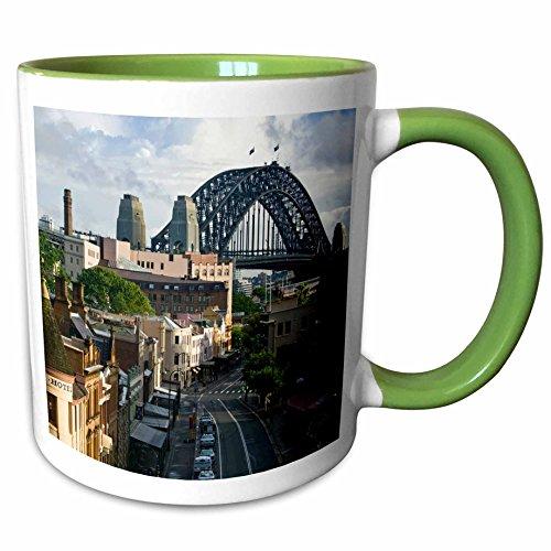 3dRose Danita Delimont - Sydney - Australia, New South Wales, Sydney, George Street-AU01 WBI0071 - Walter Bibikow - 11oz Two-Tone Green Mug - Street Sydney George Australia