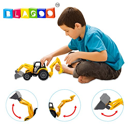[BLAGOO Realistic Front and Backhoe Loader Excavator Toy up to 14 inches with 2 scoops] (Case Backhoe Loaders)