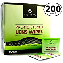 Pre-Moistened Lens Cleaning Wipes - 200 Cloths - Safely Cleans Glasses, Sunglasses, Camera Lenses, and Electronic Quickly & Efficiently - Travel - by Optix 55