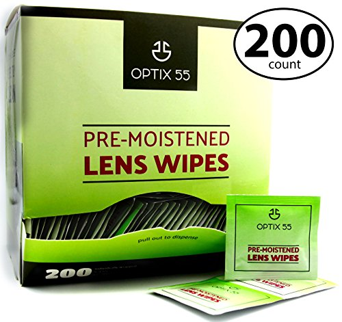 Pre-Moistened Lens Cleaning Wipes - 200 Cloths - Safely Cleans Glasses, Sunglasses, Camera Lenses, and Electronic Quickly & Efficiently - Travel - by Optix 55 ()