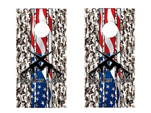 FGD-Brand-Cornhole-Wrap-Set-2nd-Amendment-Molon-Labe-Camo-LAMINATED-Vinyl-Decal