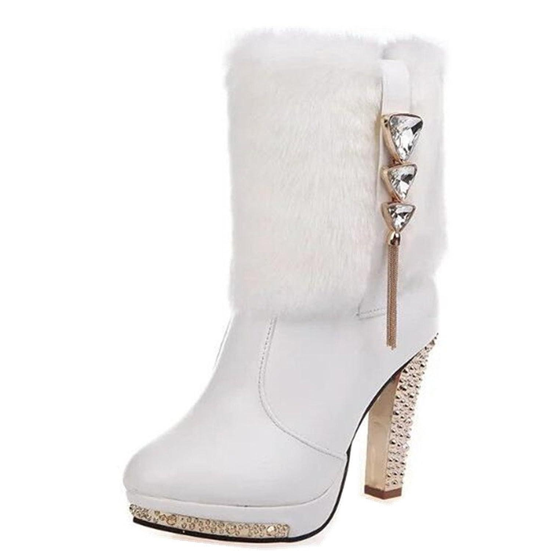 Women's PU Leather Rabbit Hair Winter High Heel Platform Shoes Lady Studded Rhinestone Warm High Leg Boots Snow booties