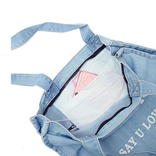 Denim Tasche mit Reißverschluss und Innentasche (Farbe: hellblau , Lonely no more)