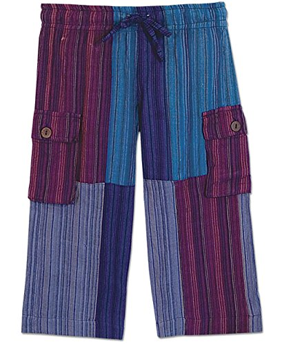 Soul Flower Kids' A Day at the Beach Patchwork Pants MD Blue by Soulflower