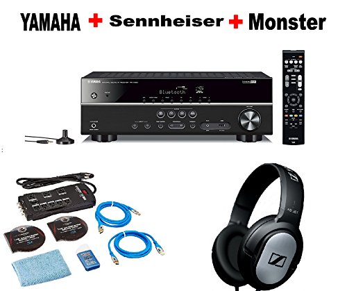 Yamaha-Bluetooth-Audio-Video-Component-ReceiverBlack-RX-V383BL-Monster-Home-Theater-Accessory-Bundle-SENNHEISER-HD206-Bundle