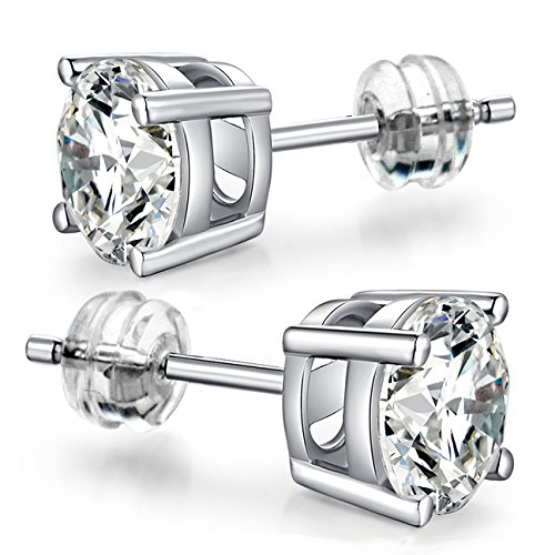 5MM 10K White Gold Round CZ Stud Earrings