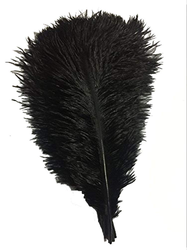 CENFRY 100pcs Ostrich Feathers 16-18inch Plumes for Wedding Centerpieces Home Decoration (Black)