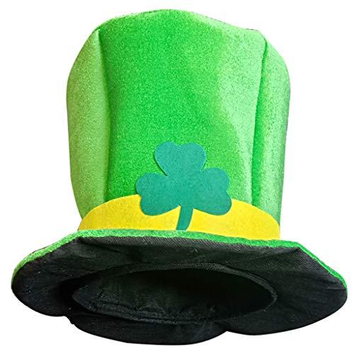 ❤Ywoow❤ Party Hat, St. Patrick's Day Green Irish Adult Hat Shamrock Velvet Top Hat for Men & Women