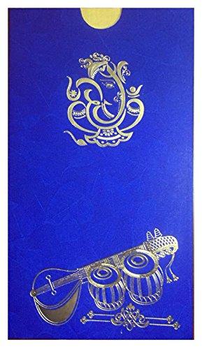 Harini Ganesha With Veena Marriage Invitation Cards Single Gold Leaf 8 75 X 4 75 Blue Pack Of 100