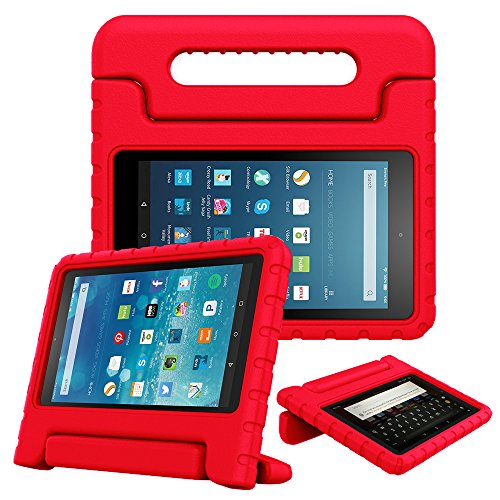 Fintie Case for All-New Fire HD 8 Tablet (7th Gen, 2017 Release) - [Kids Friendly] Shock Proof Light Weight Convertible Handle Stand Protective Cover, compatible with Fire HD 8 (6th / 5th Gen), Red