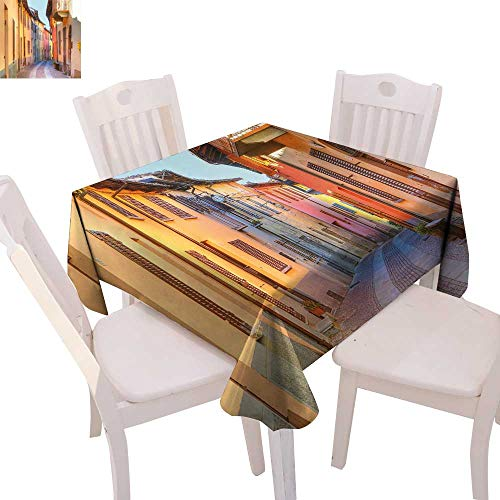cobeDecor Italy Dinner Picnic Table Cloth Narrow Paves Street Among Old Houses in Town Serralunga DAlba Piedmont Waterproof Table Cover for Kitchen 70