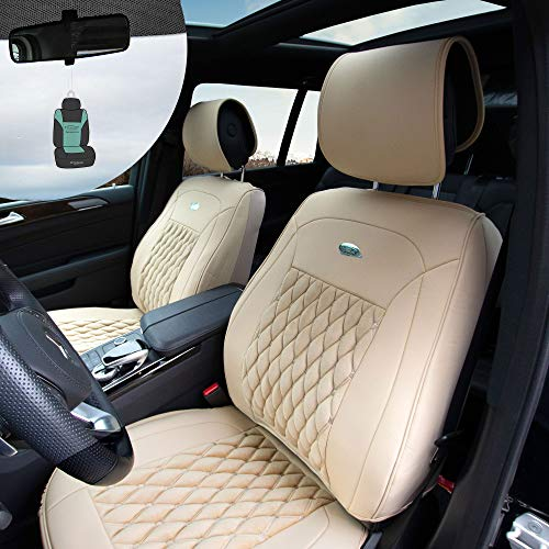 (FH Group PU204102 Victorian Style Luxurious Leatherette Cushion Pad Seat Covers, Beige Color w. Free Air Freshener- Fit Most Car, Truck, SUV, or Van)