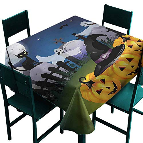 DONEECKL Antifouling Tablecloth Halloween Pumpkins Witches Hat Moon Great for Buffet Table W60 xL60