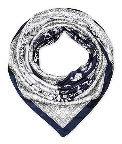 Large Square Satin Silk Like Lightweight Scarfs Hair Sleeping Wraps for Women Navy Blue and White Paisley (Silk Satin Paisley)