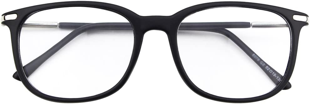 Happy Store CN79 High Fashion Metal Temple Horn Rimmed Clear Lens Eye Glasses,Glossy Black