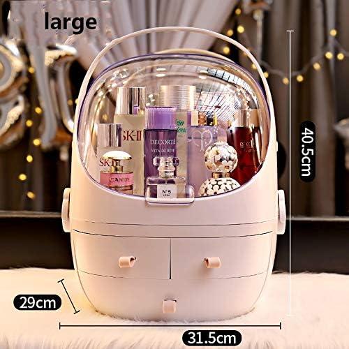 化粧品収納ボックス 家庭用デスクトップ防塵化粧品収納ボックスドレッシングテーブルスキンケア口紅ラックプラスチックケースサイズ取り外し可能ピンクホワイト QTKGG (Color : White, Size : M)