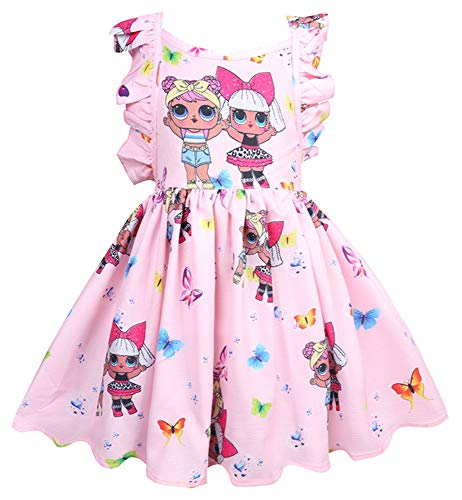 WNQY Girls Surprise Princess Dress up Doll Digital Print Party Gown Dress for Doll Surprised(Pink,120/4-5Years)
