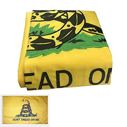 Dont Tread Flag Gadsden (WOWMAR Gadsden Flag Don't Tread on Me 3x5ft Flag 100% Made in USA -American Revolution Flag Tea Party Flag – Embroidered 210D Nylon 3x5 Foot Banner Materials & Workmanship You'll Be Proud to Own)