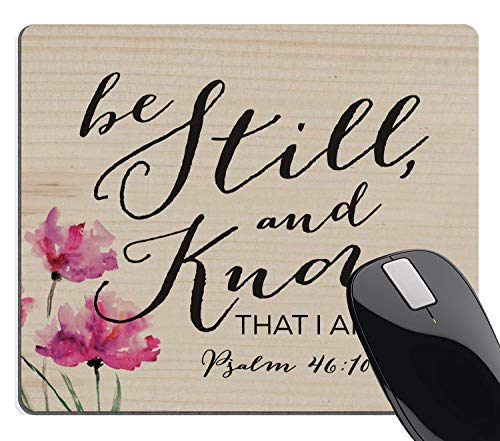 Wknoon Be Still & Know That I Am God Mouse Pad, Vintage Floral Quotes Christian Bible Verse Scripture Mouse Pads