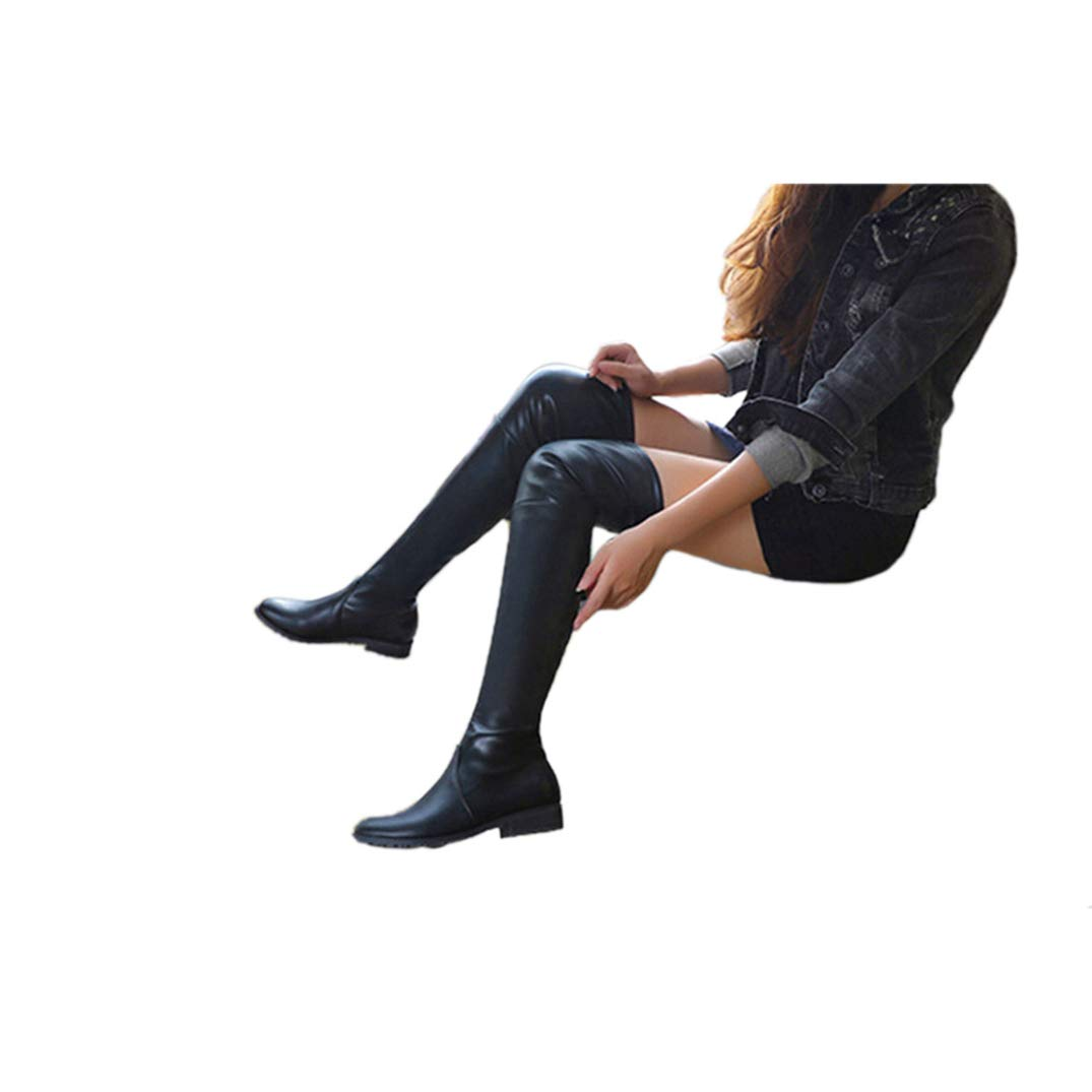 Black Saborz Chunky Heel Increasing Over The Knee Boots for Women Stretch Scrub Suede Thigh High Boots
