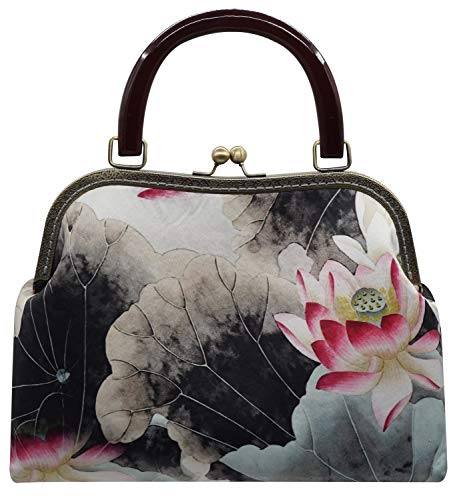 Clutch Women's Evening Prom Purse Envelope Lotus Handbag Elegant Lovful Black Floral XdIxAHH