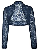 Navy Sheer Lace Shrug Bolero Short Design (M,Navy BP49)