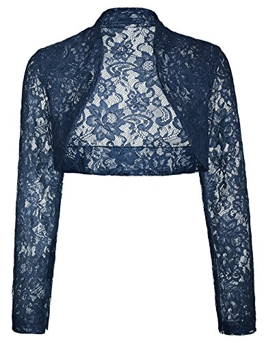 Navy Bolero - Womens Navy Blue Hollow Bolero Shrug With Long Sleeve(S,Navy BP49)