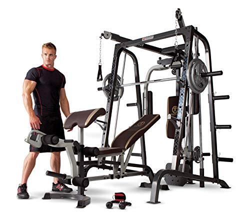Marcy Smith Cage Workout Machine Total Body Training Home Gym System with Linear Bearing Md-9010G (Marcy Weight Bench Set)