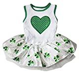 Cheap Puppy Clothes Dog Dress St Patrick Day Green Heart White Top Satin Clover Tutu (XX-Large, White)