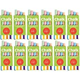 Kicko 12 Boxes of Colored Chalk, 3.5 Inches 4 Sticks per Box Assorted Colors, Non-Toxic Conforms to ASTM D-4236 - Arts and Crafts Activity - for Kids, Party Favors, Fun, Prize, Toy