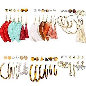 36 Pairs Fashion Earrings Set for Women Teen Girls Assorted Multiple Hoop Stud Earrings Set Bohemian Acrylic Tassel…